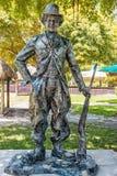 Ten wielka brązowa statua Charlie Chaplin jest jeden dziewięć prac w Bayfront parku dla sztuki Basel Eksponat utytułowana wojna W Obraz Stock