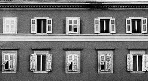 Ten Windows in black and white Royalty Free Stock Photo