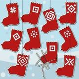 Ten Woolen Knitted Socks Set Stock Photo