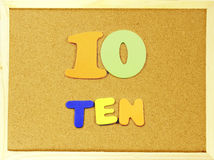 Ten word on a corkboard Royalty Free Stock Images