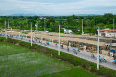 Ten wydarzenie przygotowywa dla roweru dla mamy wydarzenia od Tajlandia Zdjęcia Stock
