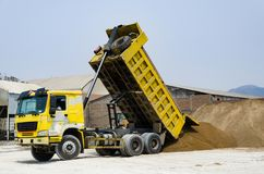 Ten yard dump truck delivering a load of dirt for a fill project. At a new commercial development construction project royalty free stock images