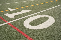 Ten Yard Line. Of an astroturf football field Royalty Free Stock Images
