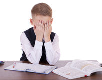 The ten-year high school student sitting at a desk Royalty Free Stock Images