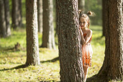 Ten-year-old girl looks out from behind a tree. Walking. Royalty Free Stock Images