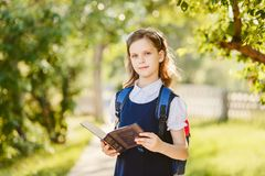 Ten-year-old schoolgirl with a book in the outdoors stock images