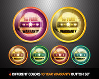 Ten Year Warranty. Colorful Ten Year Warranty Button Set Royalty Free Stock Image
