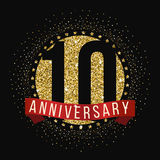 Ten years anniversary celebration logotype. 10th anniversary logo. Royalty Free Stock Images