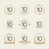 Ten years anniversary celebration logotype. 10th anniversary logo collection. Royalty Free Stock Photos