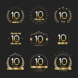 Ten years anniversary celebration logotype. 10th anniversary logo collection. Vector Stock Images