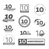 Ten years anniversary celebration logotype. 10th anniversary logo collection. Vector royalty free illustration