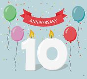 Ten years anniversary greeting card with candels. Confetti and balloons Royalty Free Stock Photo