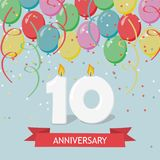 Ten years anniversary greeting card with candles. Confetti and balloons vector illustration