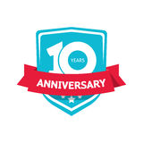Ten 10 years anniversary sticker vector, blue 10th party label. 10 years anniversary sticker vector, blue color 10th anniversary party label with red ribbon Stock Photos