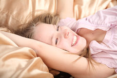 Ten years' girl has woken up Stock Image