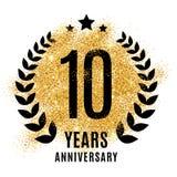 Ten years golden anniversary. Sign. Gold glitter celebration. Light bright symbol for event, invitation, award, ceremony, greeting. Laurel and star emblem Stock Photos
