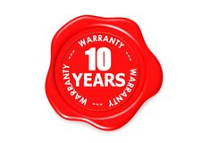 Ten years warranty seal. Image with hi-res rendered artwork that could be used for any graphic design Royalty Free Stock Images