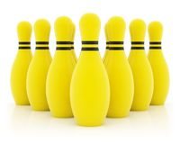 Ten yellow bowling pins royalty free stock photos