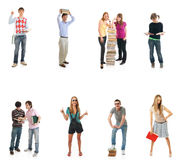 The ten young students isolated on a white royalty free stock image