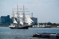 Tenacious. LONDON, UK - SEPTEMBER 9TH, 2014: Tenacious sails on the River Thames as part of the Greenwich Tall Ship Festival Regatta in London Stock Photos