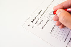 Tenancy agreement form Stock Images