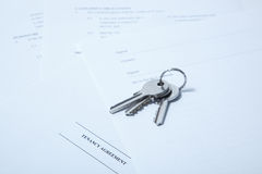 Tenancy agreement with keys Royalty Free Stock Photos