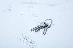 Tenancy agreement with keys Royalty Free Stock Photos