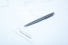Tenancy agreement with pen Stock Photo