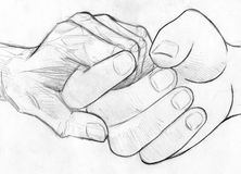 Tenant la main pluse âgé - croquis de crayon Photographie stock