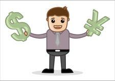 Tenant le symbole monétaire - bureau et gens d'affaires de personnage de dessin animé de vecteur de concept d'illustration Image stock