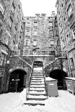 Tenants buildings with large staircase, Edinburgh, Scotland covered with snow Stock Photography