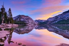 TENAYA LAKE 1 AT SUNRISE WITH REFLECTIONS stock image