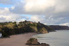 Tenby Beach. Bay and beautiful beach in Tenby, Wales, UK Royalty Free Stock Images