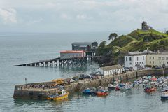 Tenby and castle in Wales, England Stock Photos
