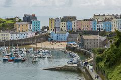 Tenby and castle in Wales, England Stock Image