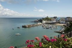 Tenby south wales. Tenby coastal town in Pembrokeshire South Wales. View of the harbour Stock Images