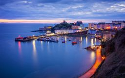 Tenby hamn, Wales royaltyfria foton