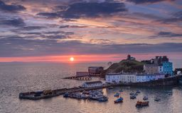Tenby harbour and life boat house stock images
