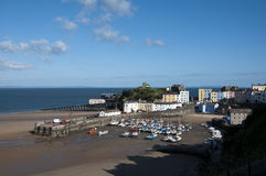 Tenby Harbour at low tide Stock Photo