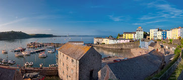 Tenby harbour, South Wales, UK. Panoramic view of Tenby harbour, South Wales, UK Stock Photo