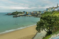 Tenby harbour at sunrise iiewed from the North Cliff Royalty Free Stock Images