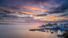 Tenby Harbour at sunrise stock image
