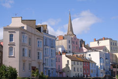 Tenby Houses. Coloured houses around the harbour at Tenby, Wales, UK Stock Image
