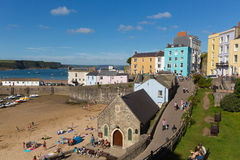 Tenby town Pembrokeshire in summer with holidaymakers and visitors and blue sky Stock Images