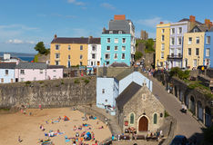 Tenby town Pembrokeshire Wales uk in summer with tourists and visitors and blue sky Stock Photography