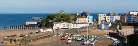 Tenby town Pembrokeshire Wales uk in summer with tourists and visitors and blue sky Stock Photo