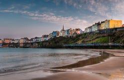 Tenby, tramonto del Galles sulla spiaggia Fotografia Stock