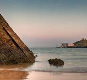 Tenby, tramonto libero del cielo del Galles Fotografie Stock Libere da Diritti