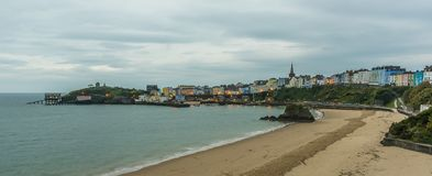 Tenby viewed from the North Beach at sunrise Stock Photos