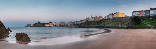 Tenby, Wales Harbor Panorama. Colorful buildings and beach of Tenby (Dinbych-y-Pysgod) in South West Wales Royalty Free Stock Photo
